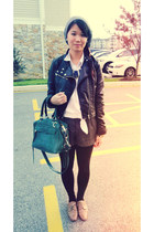 black motorcycle H&M Trend jacket - teal satchel Rebecca Minkoff bag