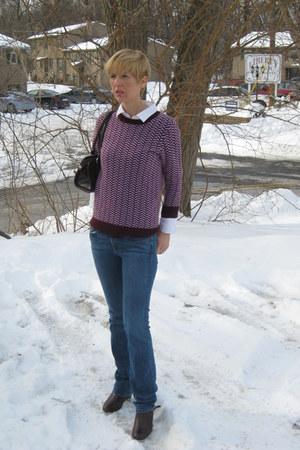 JCrew sweater - JCrew jeans - dark brown Thrift Store purse