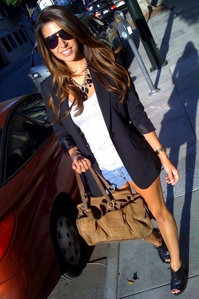 BCBG blazer - forever 21 t-shirt - Fossil sunglasses - forever 21 necklace - for