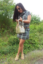 gray bag - dark green checkerd dress - camel heels