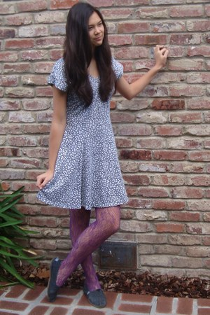 thrifted dress - tights - TOMS shoes
