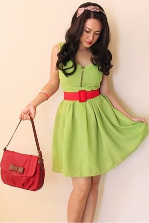 red bag - lime green dress - tan headband bow Accessorize accessories
