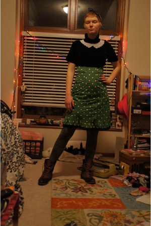 black diy crop top DKNY top - navy Bass boots - chartreuse Target dress