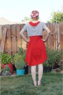 Navy-puma-sandals-red-lush-dress-hot-pink-vintage-mr-john-hat