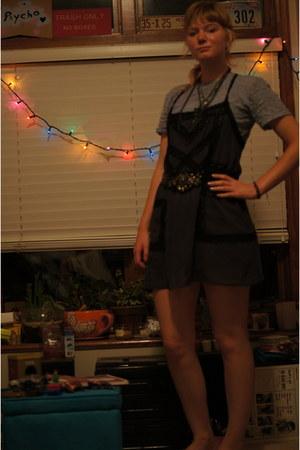 sky blue lace shirt - black Urban Outfitters dress - black vintage belt