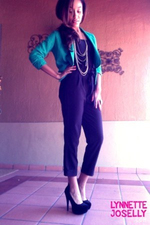 teal peplum Love Culture blazer - black high waist bow Forever 21 pants