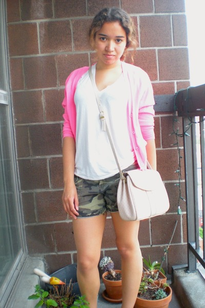 olive green camo Ebay shorts - hot pink neon J Crew cardigan - white t-shirt