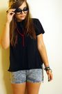 Blue-h-m-shorts-black-topman-t-shirt-red-ebay-accessories-girl-props-glass