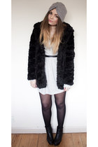black fur Topshop coat - silver zalando dress - silver pearly turban Primark hat