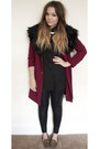 Brick-red-long-line-boohoo-coat