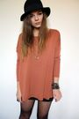 Orange-asos-top-black-h-m-skirt-h-m-hat-gold-zara-taylor-necklace