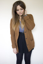 periwinkle Topshop top - burnt orange aran cardigan new look cardigan