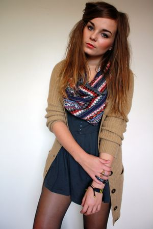 beige Primark cardigan - gray Primark dress - blue Primark scarf