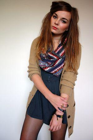 beige Primark cardigan - gray Primark dress - blue Primark scarf
