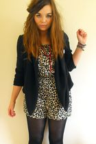 beige H&M suit - black Topshop blazer - red Ebay accessories
