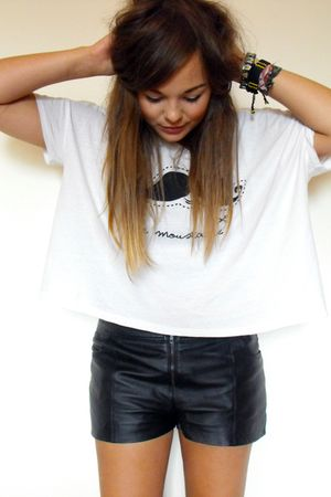 black Primark shorts - white shirt