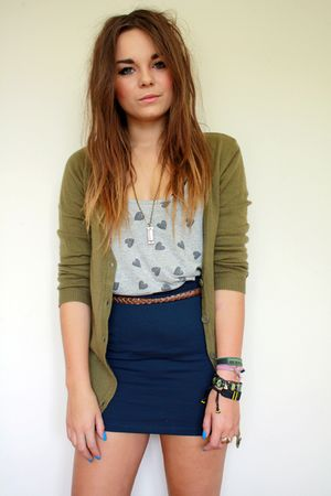 blue H&amp;M skirt - brown leather braided Primark belt