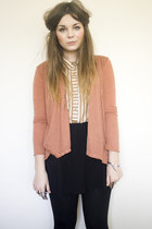 camel striped Topshop shirt - light pink new look cardigan - black high waisted