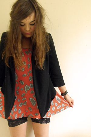 orange Topshop dress - black draped jersey Topshop blazer - black H&amp;M shorts
