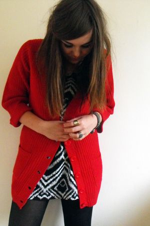 red Primark cardigan - black H&M dress
