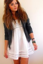 white day Primark dress - black leather Primark jacket