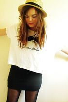 black H&M skirt - white new look t-shirt - beige Primark hat
