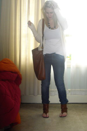 brown Spring shoes - blue Guess jeans - brown H&M purse - white H&M shirt - whit
