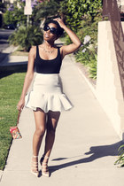 ovoid asos skirt - baroque Prada sunglasses - Kurt Geiger heels