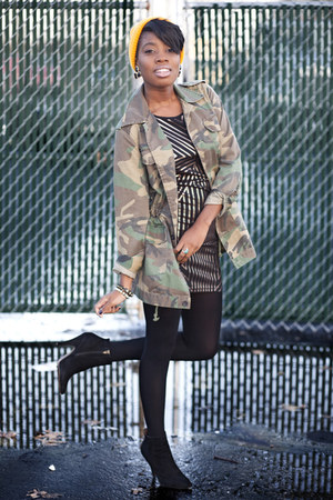 camouflage by corpus jacket - ankle boot Aldo boots - rose gold Mink Pink dress