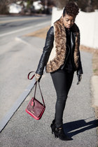 Fossil bag - Shoe Dazzle boots - fur vest Mark vest