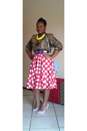 a-line red Mr Price skirt - shiny purple Mr Price belt - chunky yellow necklace