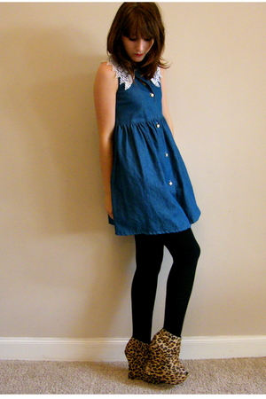 blue vintage dress - brown Ashish for Topshop shoes