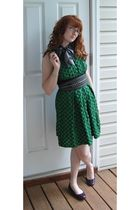 green Anthropologie dress - black Steve Madden belt - purple simply vera wang sh