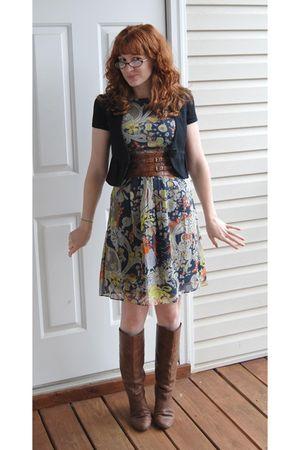 brown Nine West boots - Miss Sixty dress - black blazer - brown belt