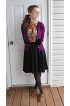 purple Karen Kane cardigan - black dress - brown Steve Madden shoes - brown Nane
