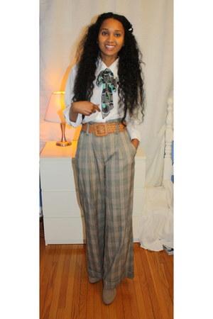 Suzy Shier pants - Ardene scarf - Ardene belt - thrifted blouse