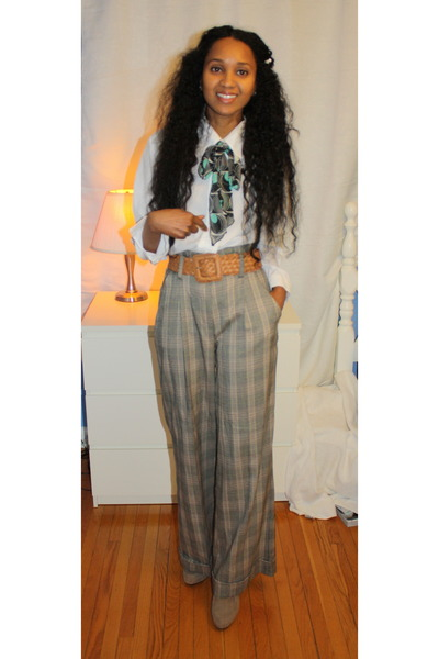 Suzy Shier pants - Ardene scarf - Ardene belt - thrifted blouse