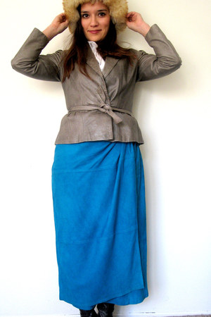vintage skirt - fuzzy shearling vintage hat - vintage jacket