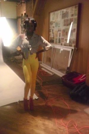 yellow high waisted custom made tights - camel Forever 21 blouse