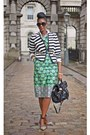 White-cotton-vintage-shirt-black-reiss-shoes-green-asos-dress