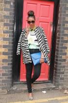 black Zara coat - zebra print Reiss shoes - skinny Long Tall Sally jeans
