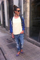 blue silk Zara jacket - sky blue Closed jeans - neutral Pull& Bear t-shirt