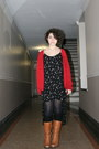 black Urban Outfitters dress - tawny unknown boots - black unknown tights