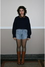 sky blue high-waisted Urban Outfitters shorts - tawny vintage boots