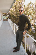 Alfani shoes - H&amp;M sweater - J Crew shirt - Ray Ban sunglasses - Topman pants