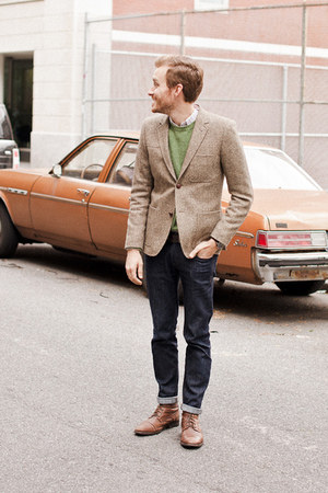 tweed H&M blazer - Topman boots - Doctrine Denim jeans - J Crew sweater