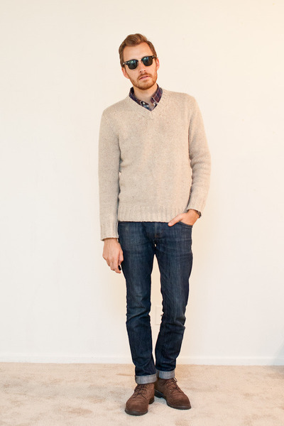 JC Penny sweater - 1901 boots - Doctrine Denim jeans - Club Monaco shirt