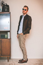 faux leather Levis jacket - bostonian shoes - H&M jeans - H&M shirt