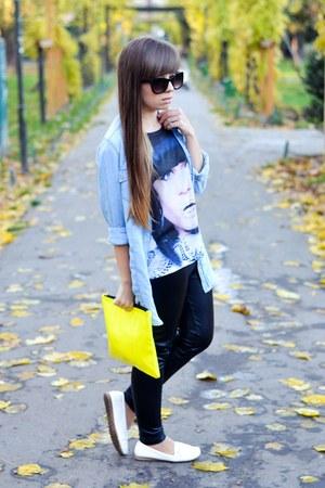 yellow Bershka bag - sky blue Stradivarius shirt - black Atmosphere tights