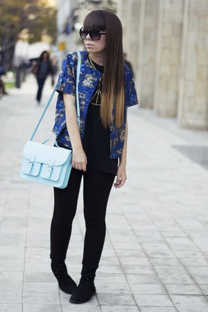 black Zara leggings - light blue H&M bag